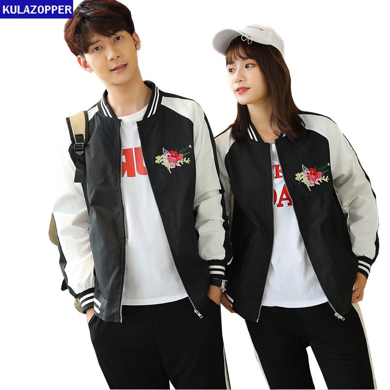 3XL Couple   Jacket   For Lovers 2018 Spring Autumn Korean Style Floral Embroidery   Basic     Jacket   Coat Small Fresh Outerwear ZS075