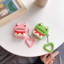 Good New Cute Frog Pattern Soft Silicone Protective Cover Shockproof Case Skin Shell With Lanyard for Airpods 1/2 Charging Box
