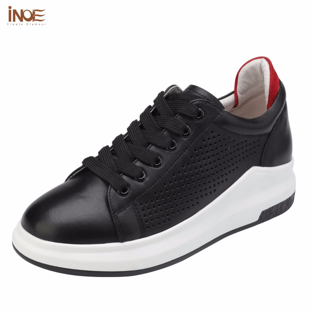 цена на INOE fashion style genuine leather lace up women mesh sneakers summer shoes casual flats white black high quality rubber sole