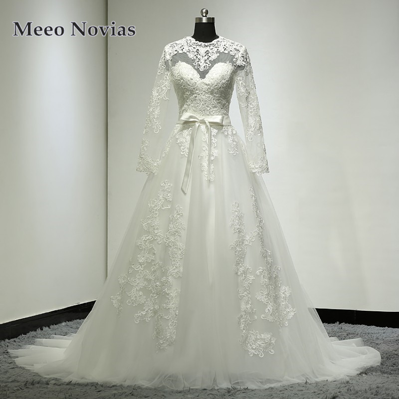 Samples Of Wedding Gowns: Robe De Mariage Real Samples A Line Long Sleeves Wedding