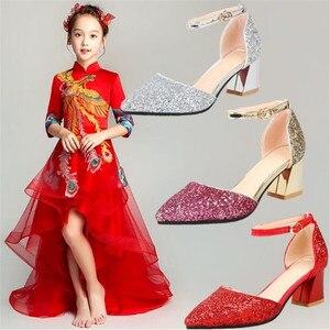 Image 2 - 새 여자 가죽 신발 공주 높은 굽 모델 catwalk 신발 어린이 키즈 웨딩 드레스 신발 아기 학생 019