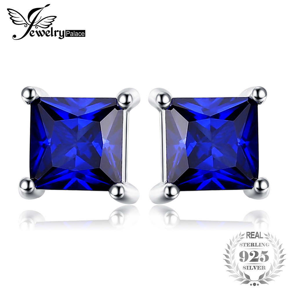 JewelryPalace Square Blue Created Sapphire 925 Sterling Silver Stud Earrings New for Women Gift Fine Jewelry jewelrypalace halo 2 6ct swiss blue topaz stud earrings 925 sterling silver fine jewelry new earrings for women party gift