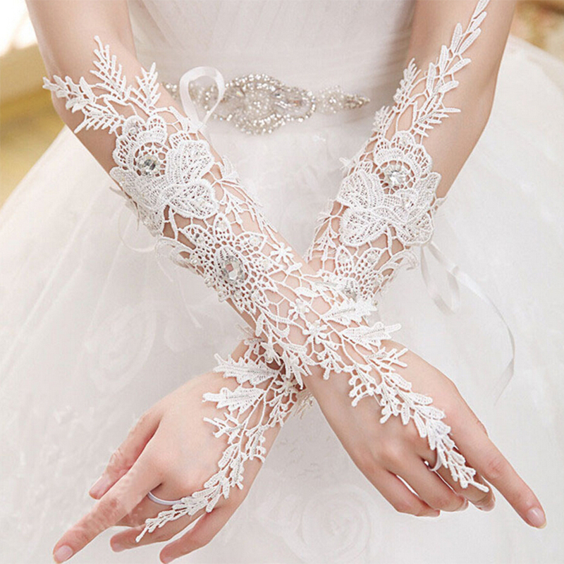 Fansmile Cheap Fingerless Rhinestone Lace Sequins Bridal Wedding Gloves Wedding Accessories Made in China Free Shipping