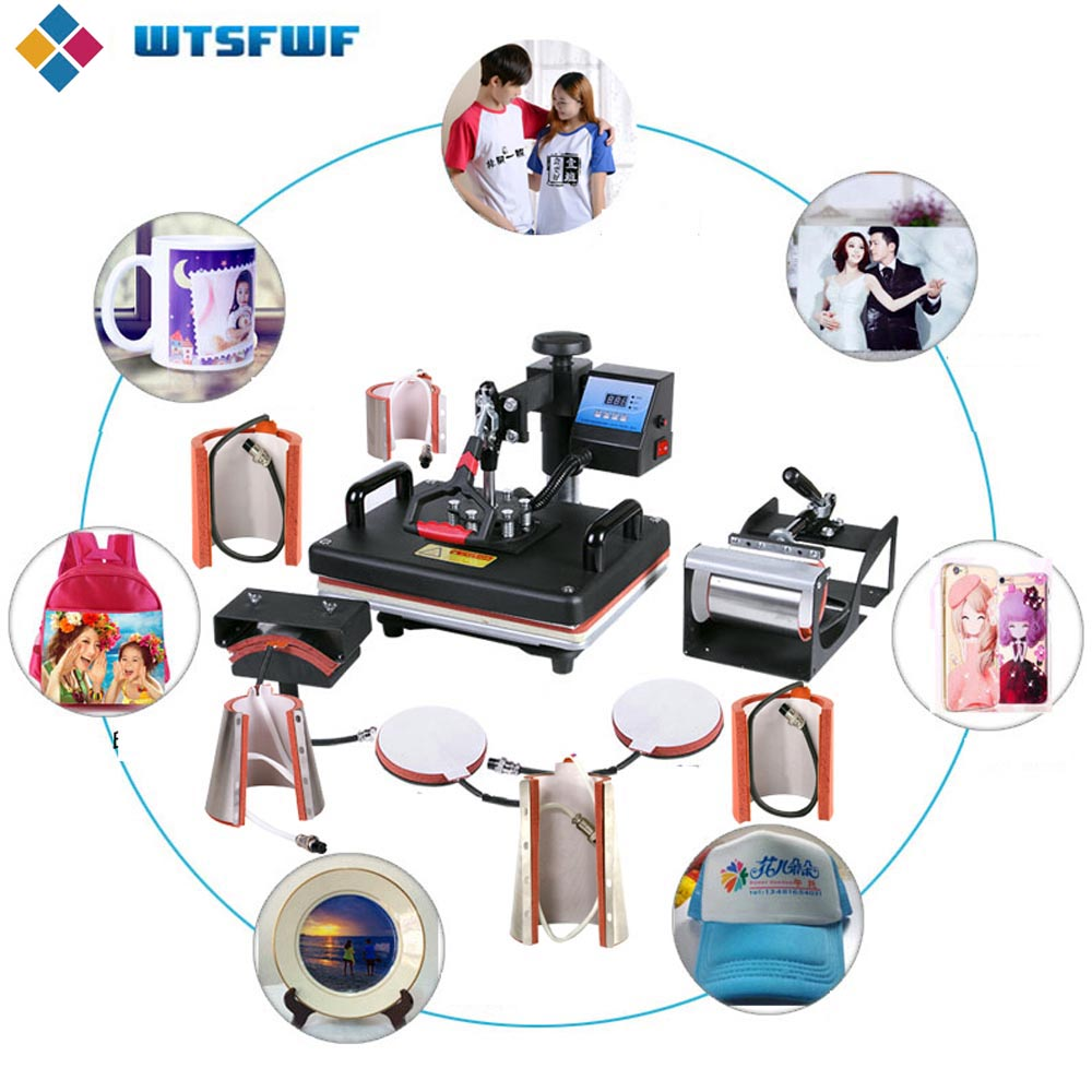 Freeshipping Wtsfwf 30*38CM 10 In 1 Combo Heat Press Machine 2D Thermal Transfer Machine For Cap Mug Plate T-shirts Printing