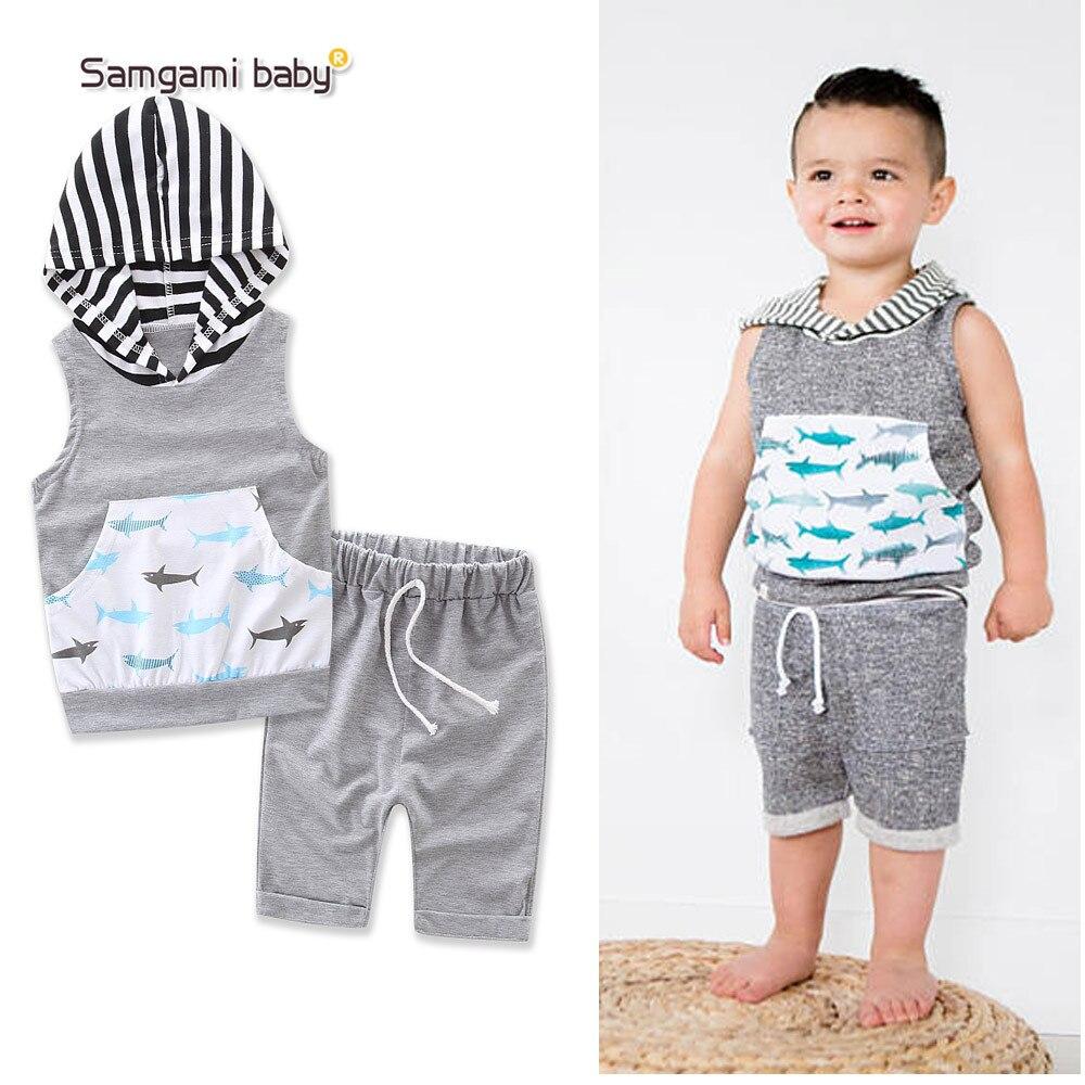 Samgami ребенок хлопок для новорожденных мальчиков Обувь для девочек одежда набор малышей летние Повседневное с капюшоном в полоску Футболка ...