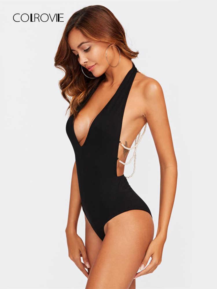 ... COLROVIE Beading Strappy Back Plunge Halter Bodysuit Sexy Black V Neck  Sleeveless Halter Bodysuit Women Casual ... cd529394e