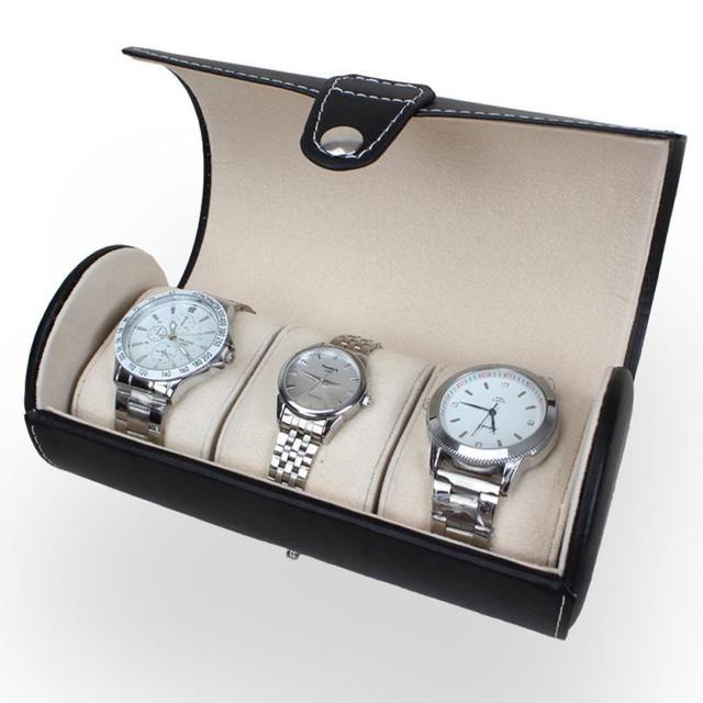 Creative Boxes Portable Black Leatherette Travel  Case Roll 3 Slot Wrist Box Storage Fashion Watch Boxes