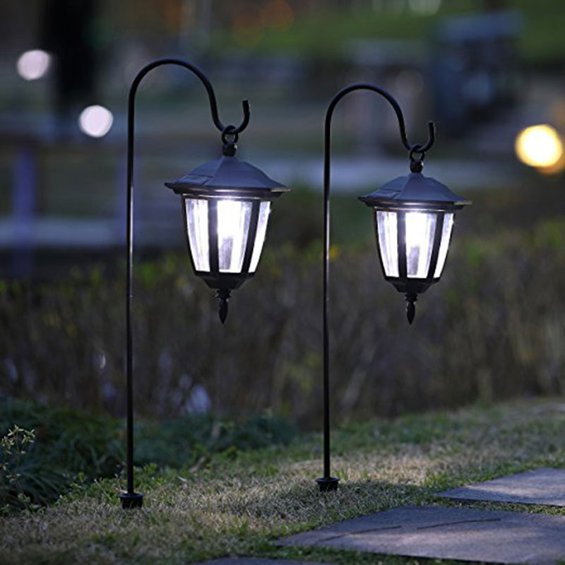 цена 26 Inch Hanging Solar Lights Dual Use Shepherd Hook Lights with 2 Shepherd Hooks Outdoor Solar Coach Lights, 2 pack