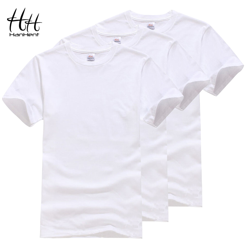 HanHent Cotton Crew neck T-shirt 3-pack Men Plain White T shirt Solid Basic Tees Mens Fitness Wear Fashion Undershirts Multipack