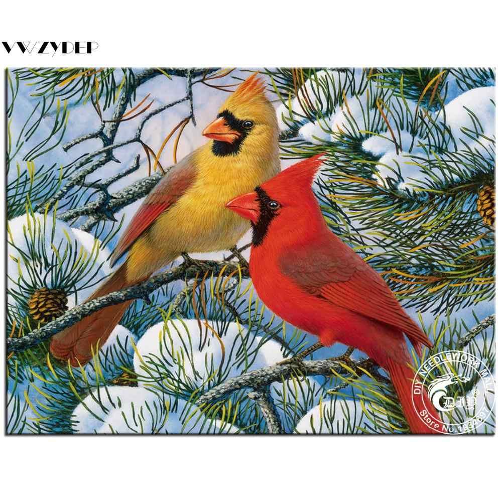 יהלומי ציור Plein קרדינל ציפור מלא כיכר עיצוב הבית אביזרי צבע על ידי מספר יהלומי בעלי החיים רקמת יהלומים