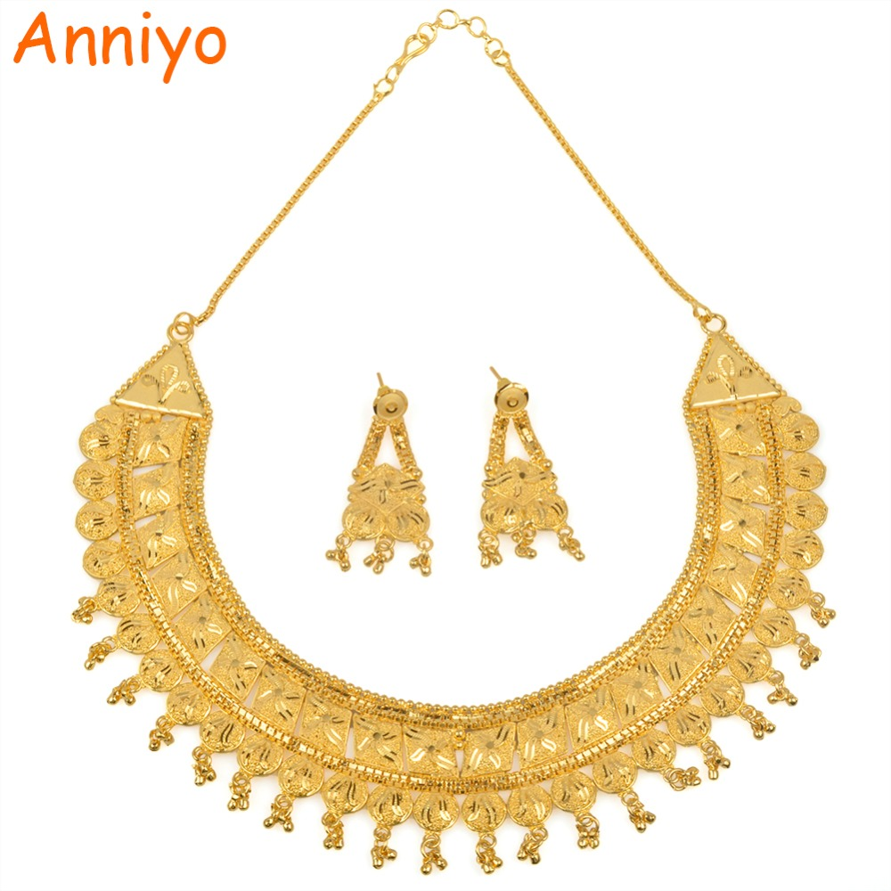 Anniyo Nigerian Jewelry Set For Women Gold Color & Copper Earrings and Necklace Sets Wedding/Birthday/Engagement Gifts #015923Anniyo Nigerian Jewelry Set For Women Gold Color & Copper Earrings and Necklace Sets Wedding/Birthday/Engagement Gifts #015923