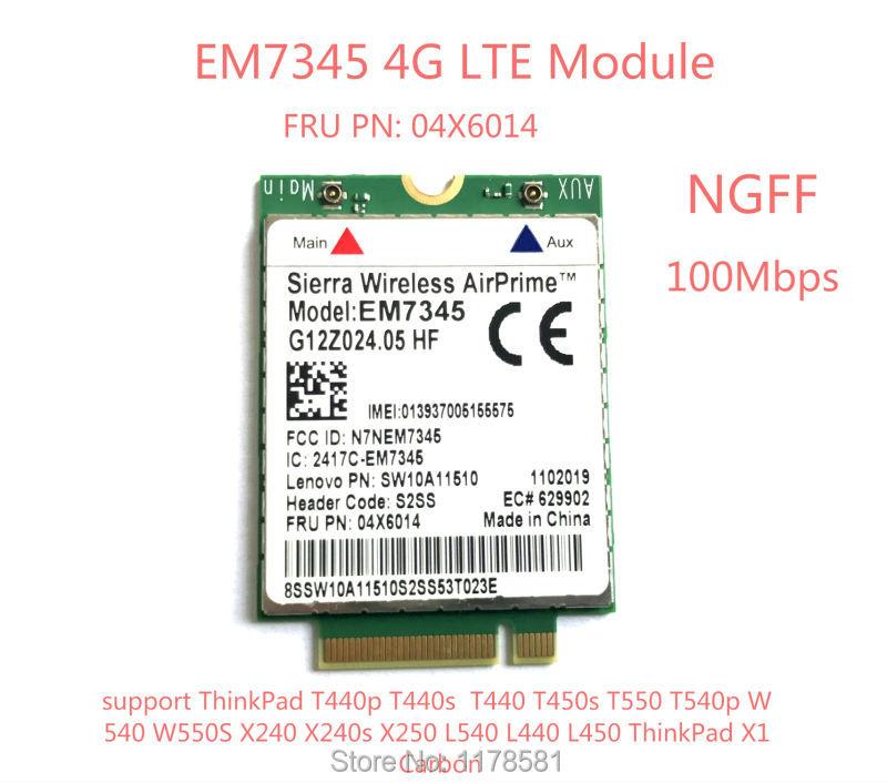 EM7345 4G Card For T440 T540P W540 L440 X240 X1 Carbon 4G Module EM7345 NGFF M.2 WWAN Card 04X6014 4G LTE/HSPA+ 42Mbps Card
