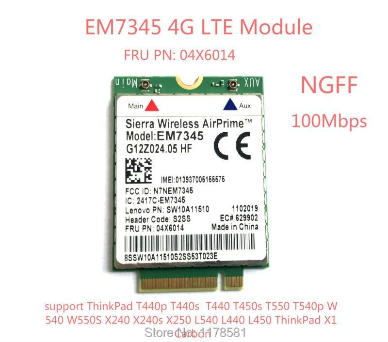 Pour IBM Lenovo Thinkpad T440 T540P W540 L440 X240 X1 Carbone 4G Module EM7345 NGFF M.2 WWAN Carte 04X6014 4G LTE/HSPA + 42 Mbps carte