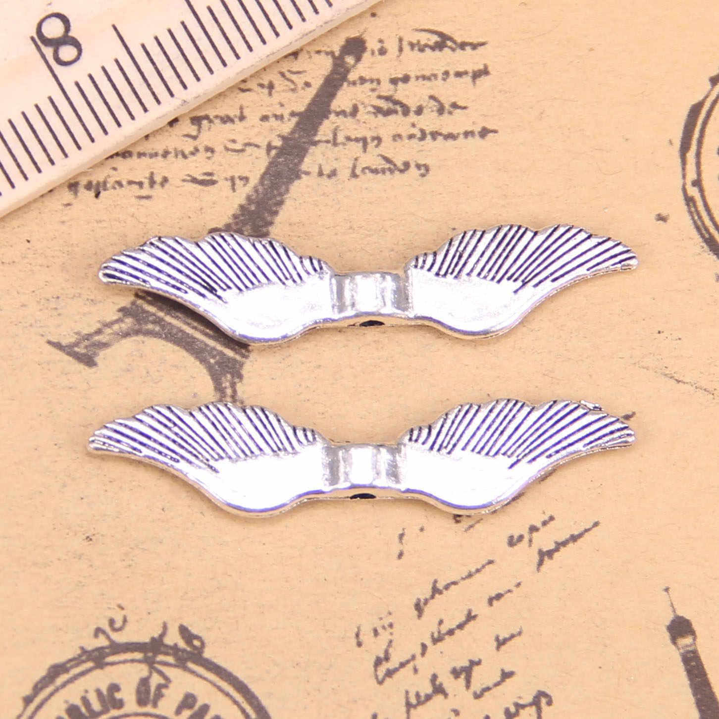 90 sztuk biżuteria Charms angel wings koralik 8x36mm Antique Silver Plated zawieszki dokonywanie DIY Handmade tybetański srebrny biżuteria