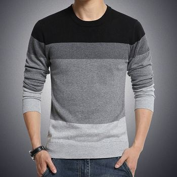New Mens Sweaters striped mens head trend long-sleeved shirt bottoming thin round neck fall sweater men
