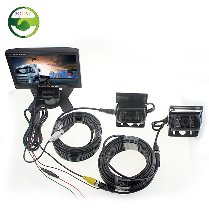 Dual Backup Camera And Monitor Kit For Bus Truck RV, IR LED Night Vision Waterproof Rearview Camera + 7