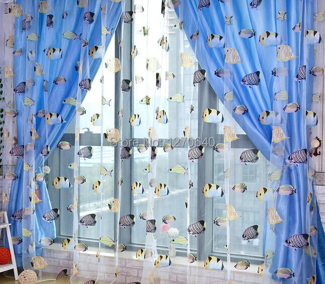 ... High Quality Fish Design Cartoon Curtain Blue Organza Curtain For Kid  Room Embroidery Lace Curtinas Living Part 81