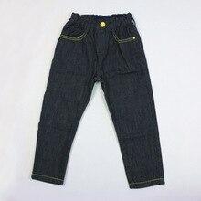 New arrival casual boys long pants elastic waist solid denim pants mid waist straight jeans regular jeans 4P0521