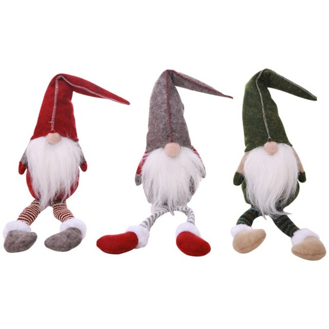 handmade long leg swedish christmas santa claus tomte gnome plush doll collectible dolls christmas decorations for