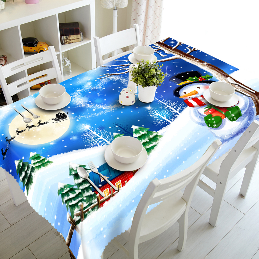 Christmas Snowflake Square Rectangle Round Table Cloth Home Outdoor Party Picnic Table Cover 80*80 90*150 <font><b>140*180</b></font> 150*260cm image
