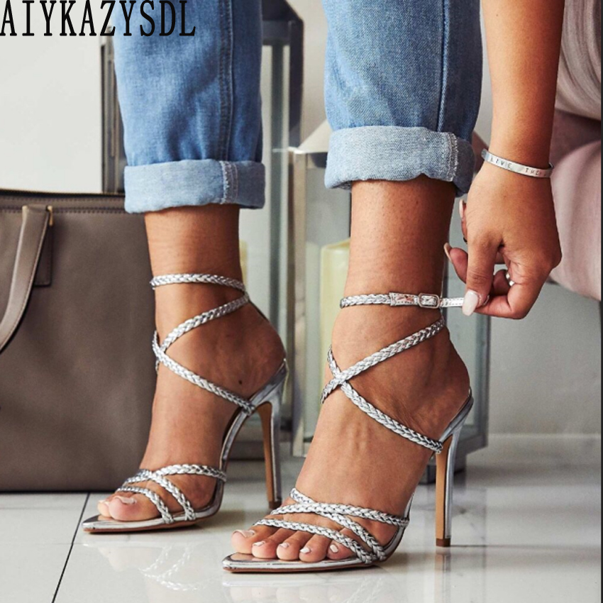 AIYKAZYSDL Women Cross Strap Gladiator Rome Sandals Pointed Open Toe Strappy Shoes Twist Cut Out Wedding Bridal Shoes High Heels