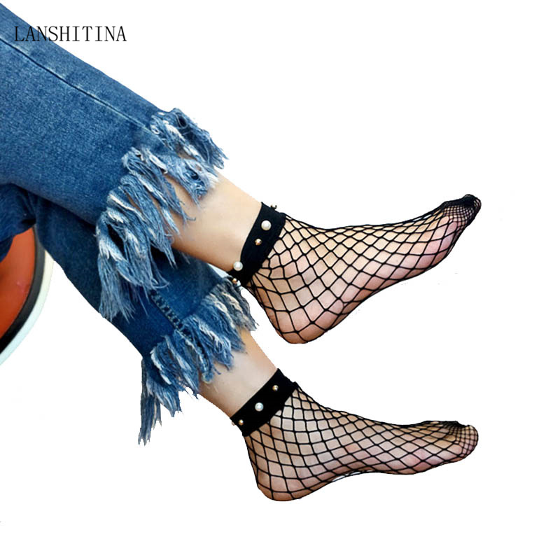 LANSHITINA Fishnet Socks Heel with Bow Pearls Women Funny Breathable Bow knot Fishnet Socks Sexy Hollow Out Mesh Net