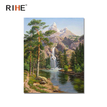 RIHE Waterfall Diy Painting By Numbers Abstract Tree Mountain Oil On Canvas Cuadros Decoracion Acrylic Wall Picture New
