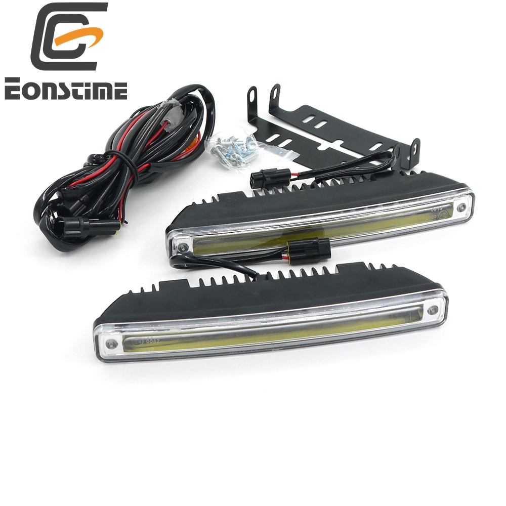 Eonstime 18CM 2pcs 8W COB LED Daytime Running Light Day Light Led Car Waterproof DRL Auto Driving Lamp External Light 12V/24V E4