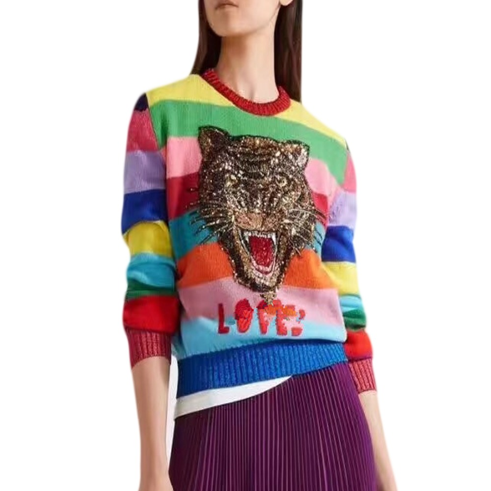 Luxus Pullover Frauen Weiche Kaninchen Fell Pullover Cartoon Tiger Stickerei Buchstaben Gestrickte Pullover Regenbogen Gestreiften Pullover