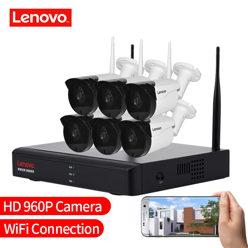 LENOVO 6CH Array HD Wireless Security Camera System DVR Kit 960P WiFi camera Outdoor HD NVR night vision Surveillance camera