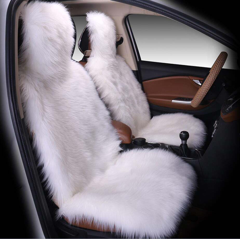 1pcs Natural fur sheepskin car seat cover seasons 3 colour front seat cover for car peugeot 206 for car volvo s40 for car ix25