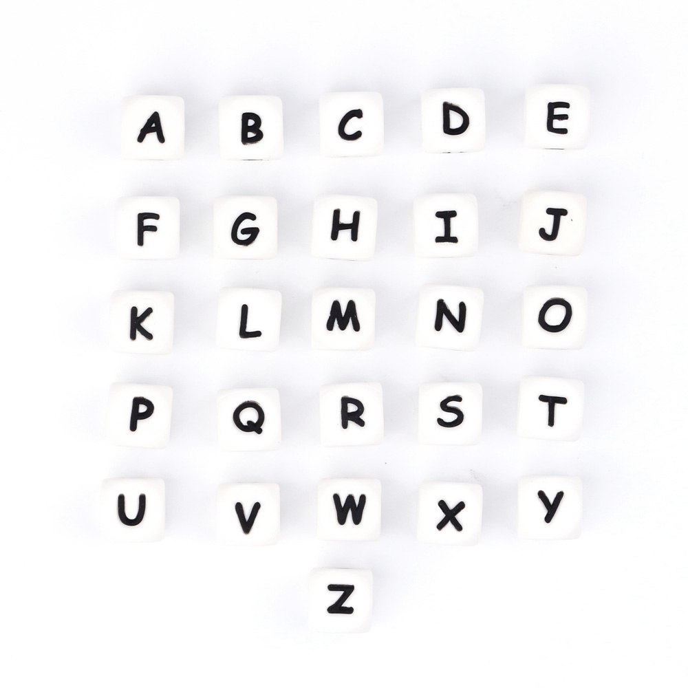 Wholesale 1000pc Alphabet Silicone Letter Beads Cube Letter A-Z Baby Teething Beads Chain Personalized Name Diy Craft Letter