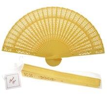 8 Yellow Chinese Folding Wood Panel Hand Fan w/ White Organza Bag for Weddings