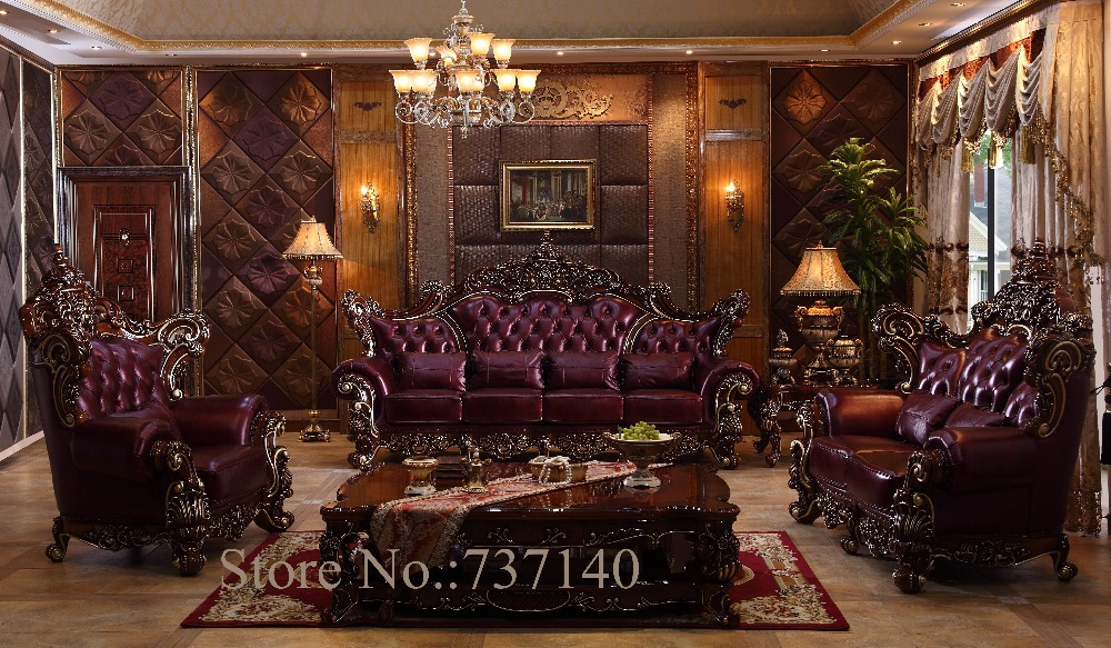 Sofa Set Living Room Furniture Luxury Genuine Leather Sofa Set French Furniture High End