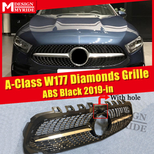 For MercedesMB W177 Sport grille Diamonds grill With Camera hole ABS Black A Class A180 A200 A45 Look grills Without Sign 2019+