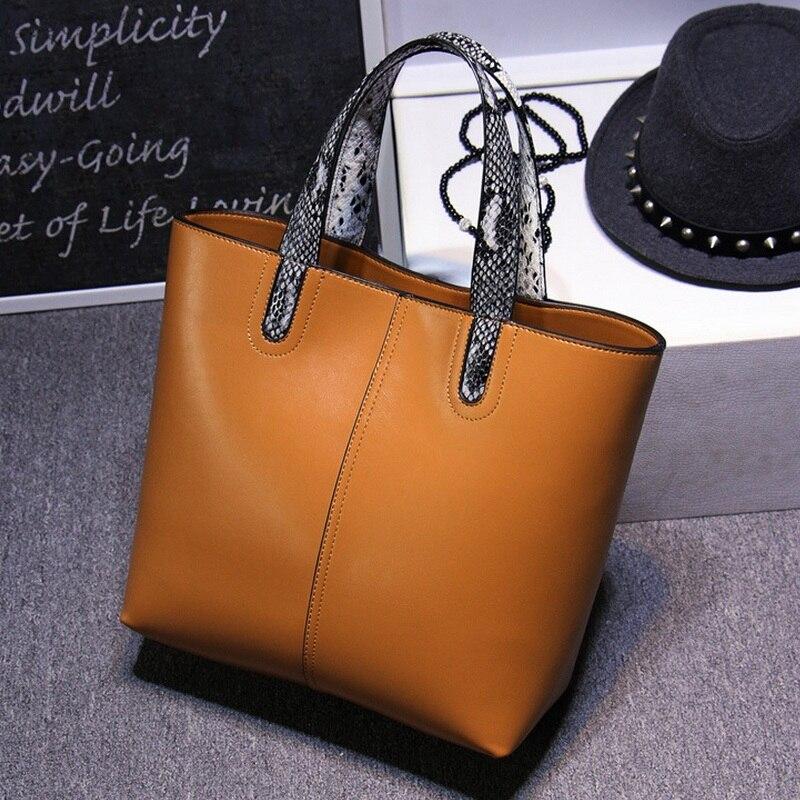 Simple Split Leather Women Office Handbag Female Fashion Big Tote Bag Business Shoulder Bag Serpentine Handle Composite Bag p p x split leather composite bag