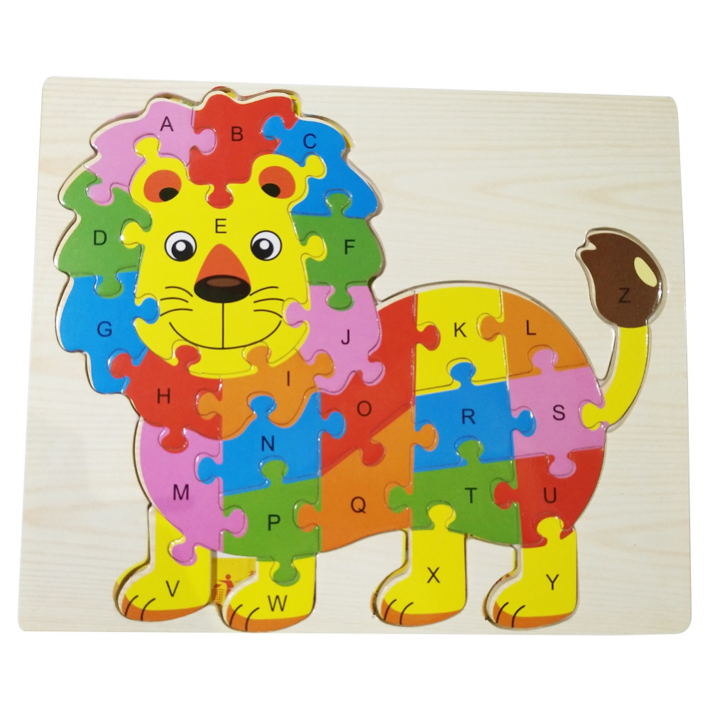 26 PCs Wooden Puzzle Toys Animal Lion With Jigsaw Letter Toys for Kid Play Toys Educational Baby Toy Kids Animals Birthday Gift