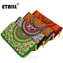 ETAILL Vintage National Canvas Embroidery Flowers Wallet Female Ladies Chinese Women Luxury Brand Long Zipper Clutch Bag