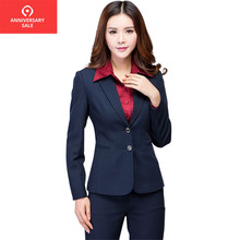 2019 Work wear women's pants suit autumn winter long-sleeve Two buttons blazer with Trousers ladies female set suits Navy black