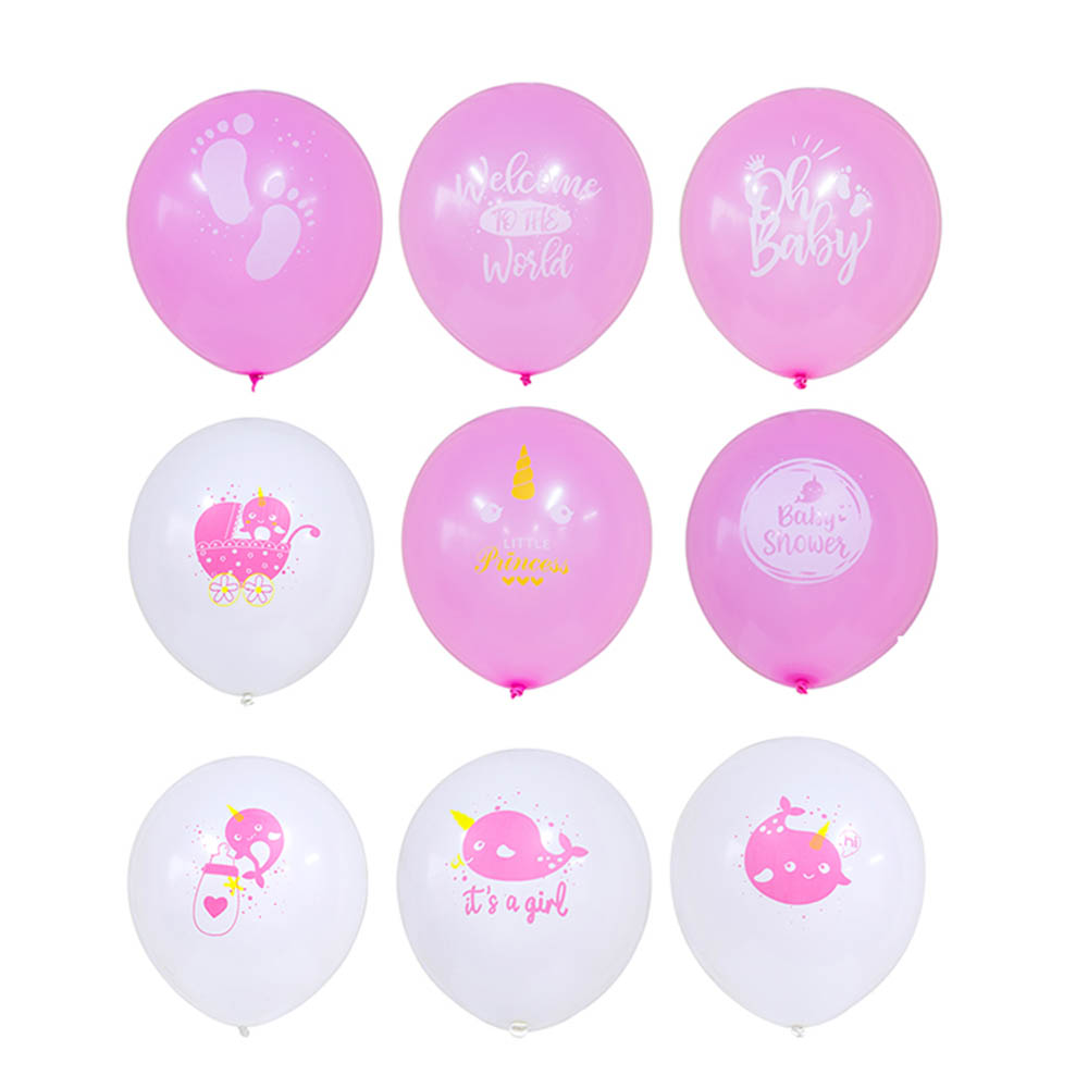 9pcs 30cm Narwhal Pink blue Balloons Decoration Baby Shower 1st Birthday Kids Girl Boy Party Whale Ocean Theme Party Supplies in Ballons Accessories from Home Garden