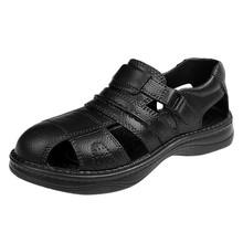 JAYCOSIN sandały męskie Hombre męskie buty na plażę Hole buty wędkarskie grube podeszwy antypoślizgowe ażurowe buty półbuty męskie tanie tanio Płótno Podstawowe Moda RUBBER Slip-on Niska (1 cm-3 cm) Pasuje prawda na wymiar weź swój normalny rozmiar Na co dzień