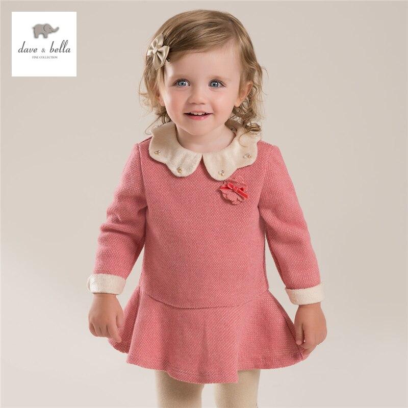 Db3942 Dave Bella осень девочка последние Питер Пен Воротник милое платье девушки Лолита Темно-розовый платье для дня рождения