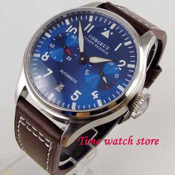 42mm Corgeut mechanical auto wrist watch men waterproof leather bracelet steel power reserve blue dial luminous date window 122 - DISCOUNT ITEM  30% OFF Watches