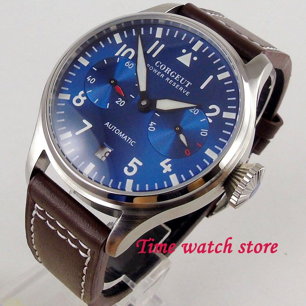 42mm Corgeut zegarek męski zasilania rezerwy królewski niebieski dial luminous data oknie ST2532 mechanizm automatyczny zegarek na rękę mężczyźni 122 w Zegarki mechaniczne od Zegarki na  Grupa 1