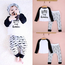 Hot-selling 2 pc Cute Newborn Letter Printed Long Sleeve T-Shirt+Beard Pants Set Baby Toddler Boys Clothing Outfits 1-4T 2019