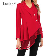 S-3XL Women New Mesh Hem Fashion Work Office Suit Long Sleeve V Neck Formal Red Black Elegant Lady Blazers Top