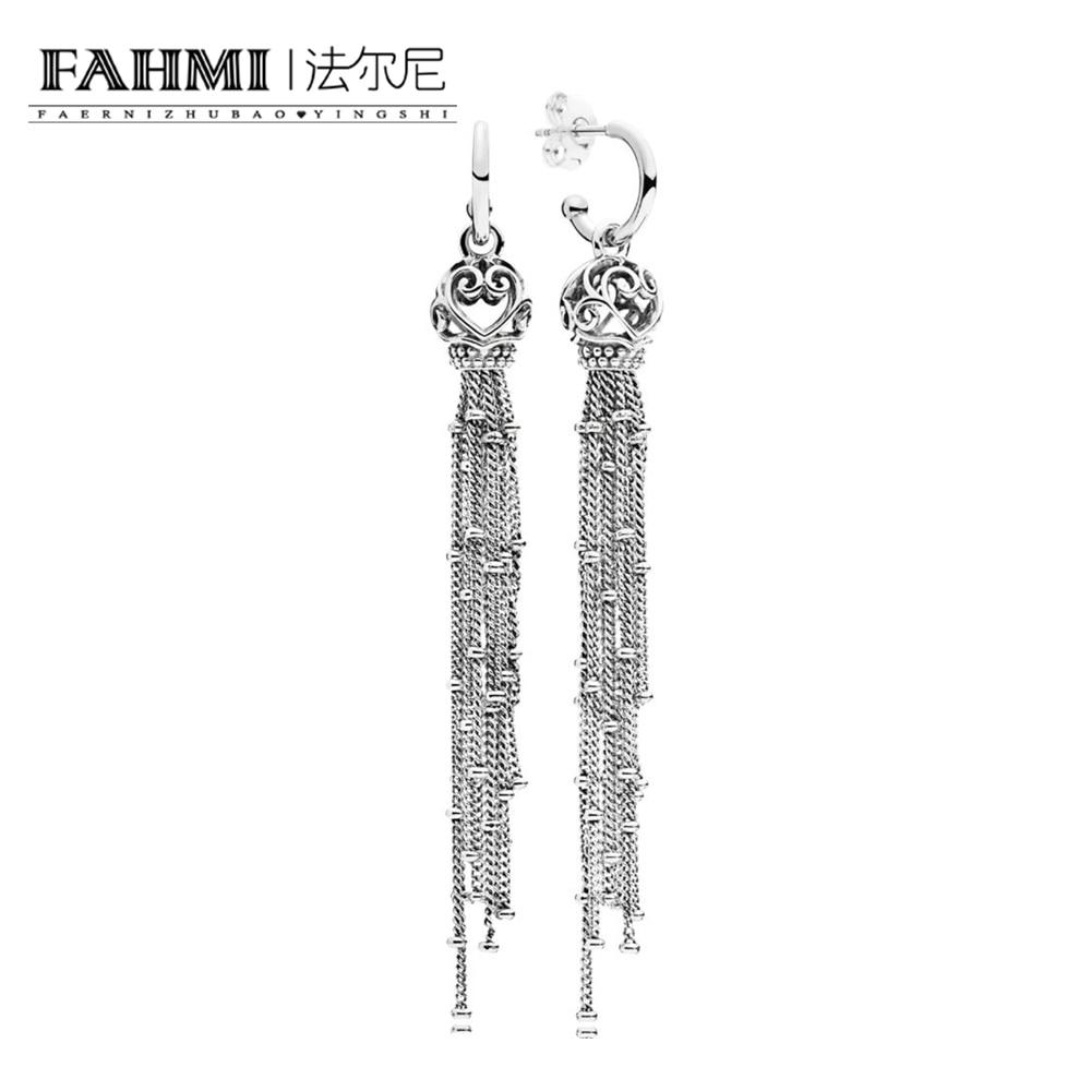 FAHMI 100% 925 Sterling Silver 1:1 Authentic Charm Elegant Magic Tassel Earrings Original Women Jewelry 0