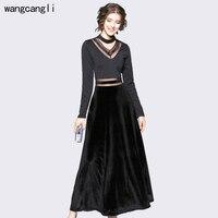 2017 Moda Szczupła Długie rękawy Sukienki Dla kobiet 2018 Wiosna nowy sexy fit velvet BLACK dress kobiet Duże Rozmiary Biura nosić