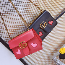 Women New Brand Designer Chains GG Marmont Bags Cute Cartoon Lips Kiss Purses And Handbags Popular Cheap Leather Shoulder bag(China (Mainland))