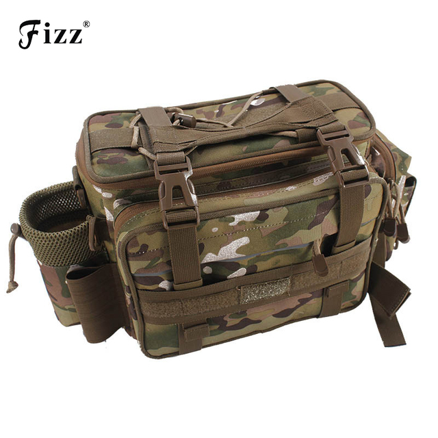 Outdoor Camouflage Fishing Tackle Box Container Shoulder Bag Oxford Cloth Fishing Accessories Waist Bag Fishing Tool 43*17*22cm